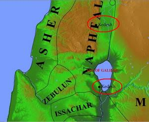Accordance Maps: Kedesh in the north and Kedesh near the Sea of Galilee- © Psalm11918.org