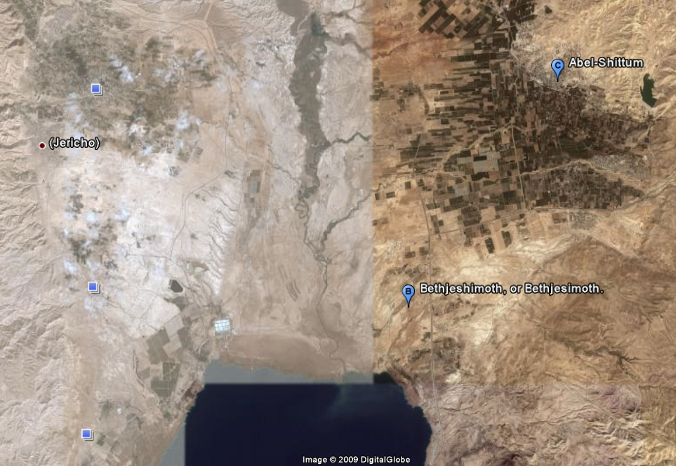 Google Earth view of the likely location of the camp stretching from Beit Yshimot to Avel-Shittim- Psalm11918.org