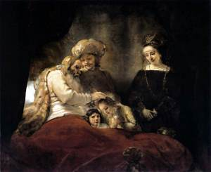 JACOB BLESSING THE CHILDREN OF JOSEPH - Rembrandt 1656
