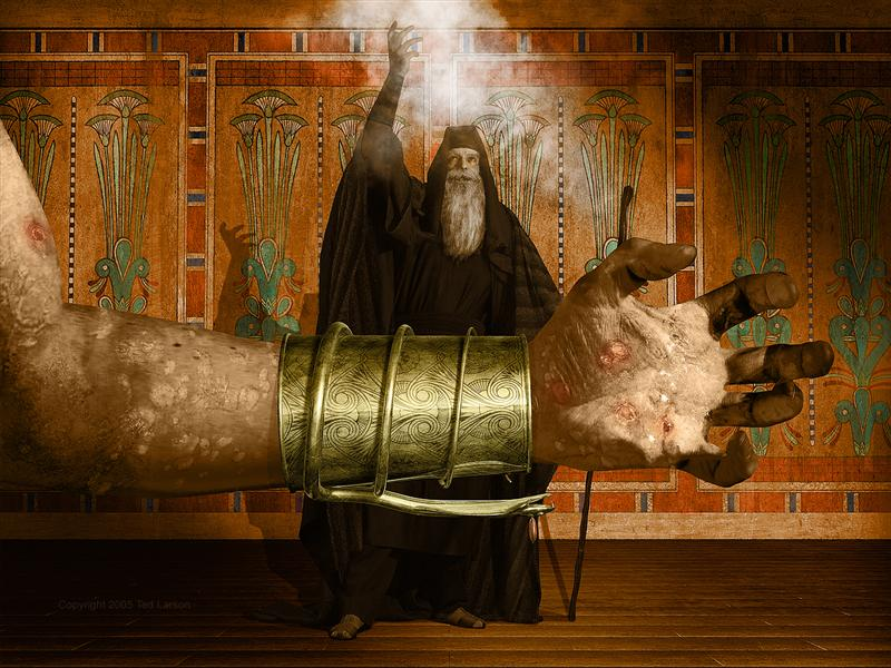 MOSES AND THE PLAGUE OF BOILS- ©2005 Ted Larson