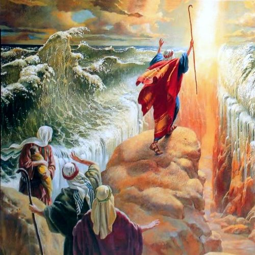 MOSES PARTS THE RED SEA- unknown artist