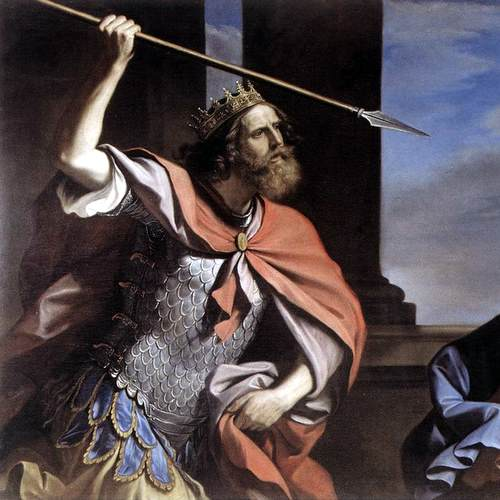 SAUL ATTACKING DAVID- Giovanni Francesco Barbieri Guercino
