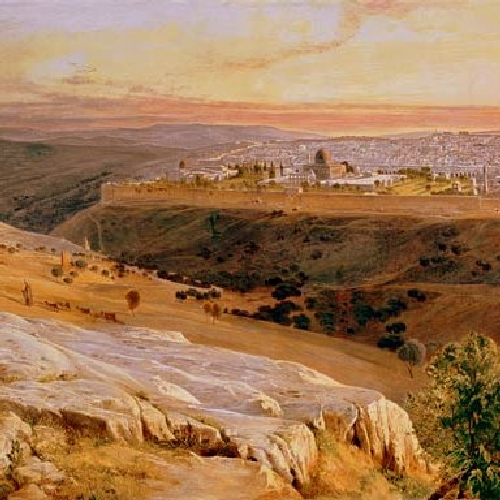 JERUSALEM FROM THE MOUNT OF OLIVES- Edward Lear