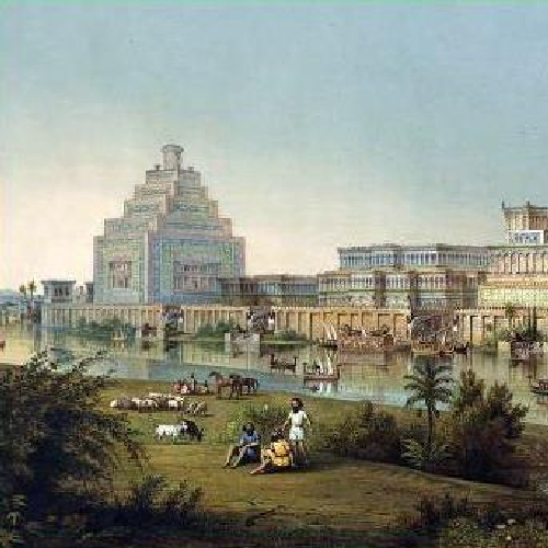 ASSYRIAN ROYAL PALACE AT NINEVEH ON THE TIGRIS RIVER, BEFORE ITS DESTRUCTION IN 612 BCE- unknown artist