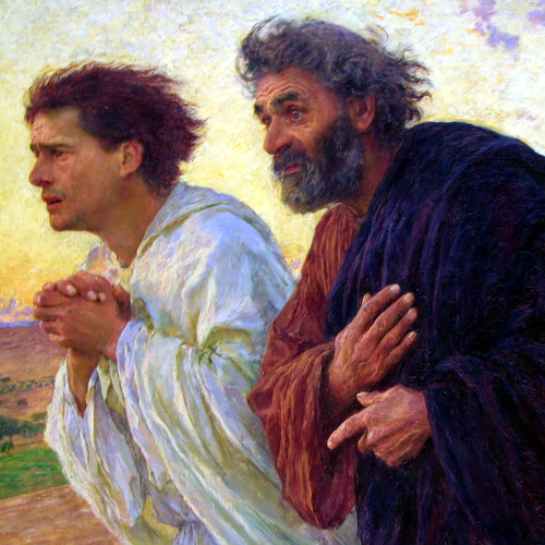 THE DISCIPLES PETER AND JOHN CAME RUNNING TO THE TOMB ON THE MORNING OF THE RESURRECTION- Eugene Burnand