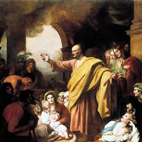ST PETER PREACHING AT PENTECOST- Benjamin West