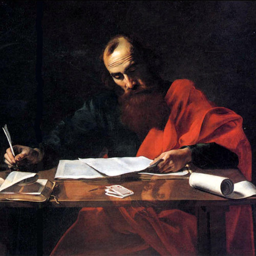 SAINT PAUL WRITING HIS EPISTLES- Valentin de Boulogne or Nicolas Tournier