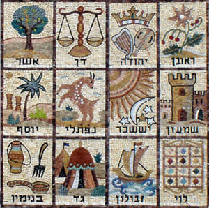 Mosaic of the 12 Tribes of Israel. From a synagogue wall in Jerusalem. - Wikimedia Commons